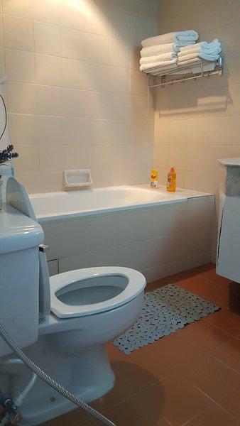 Banheira agradável com água quente e fria ou você pode usar o chuveiro de acordo com seu gosto.