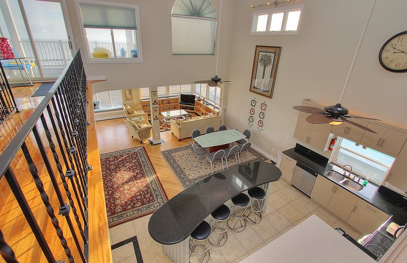 High ceilings and open concept make Beach House 1703 perfect for large groups