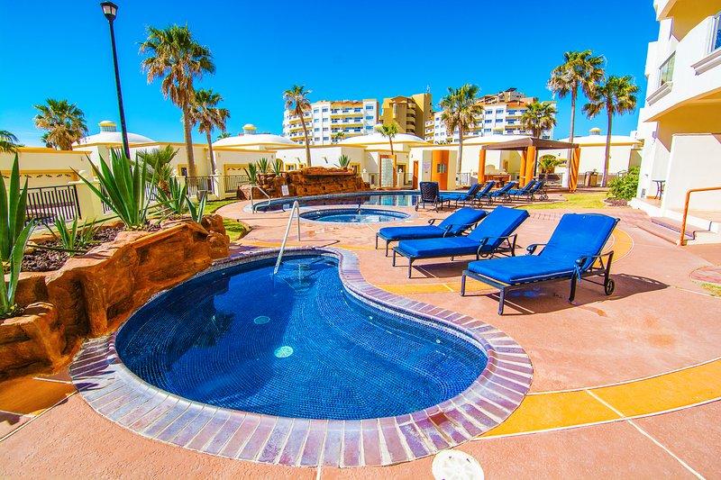 Jacuzzi, hidromasaje, edificio, piscina, Resort