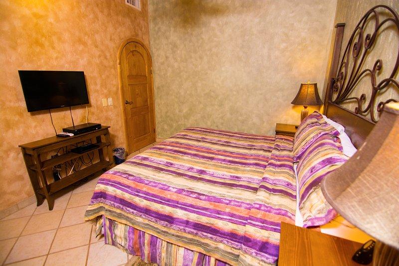 Cama, dormitorio, muebles, pantalla LCD, pantalla