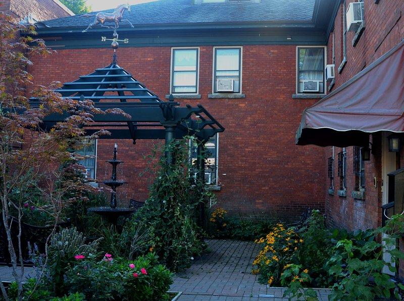 Garden areas around the property