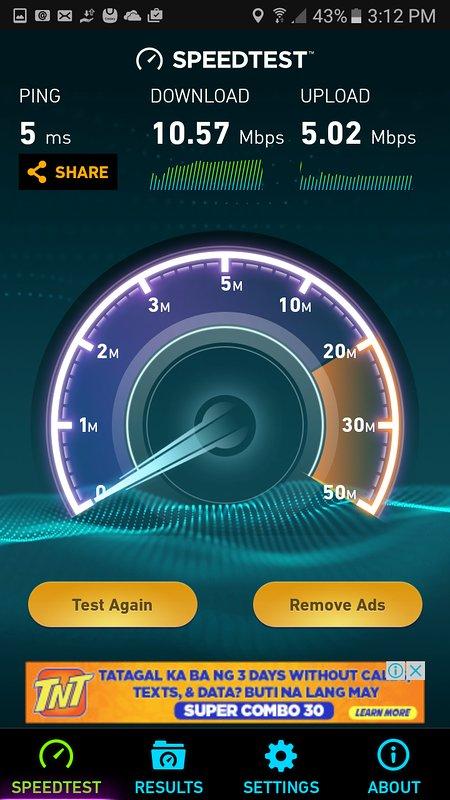 les résultats des tests de connexion Wi-Fi dans l'unité. bien que le plus lent de mes 4 unités encore assez bon