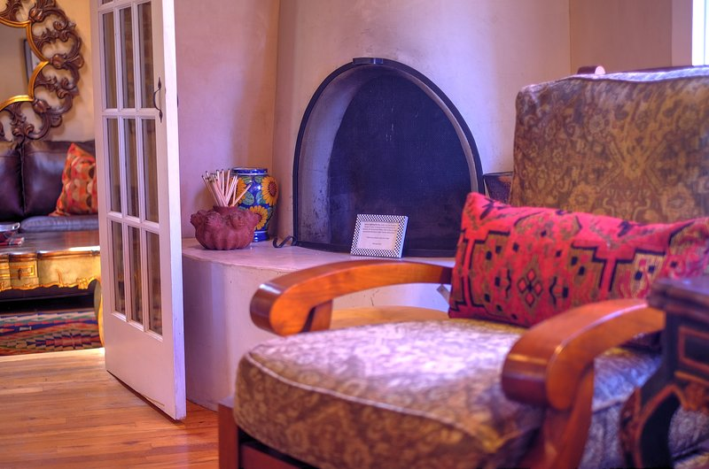 Den with kiva fireplace