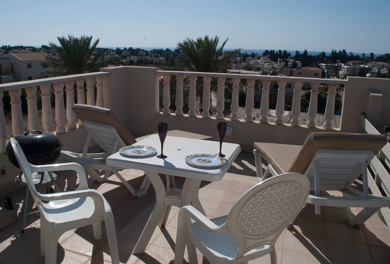 Apartment roof terrace overlooking Paphos.