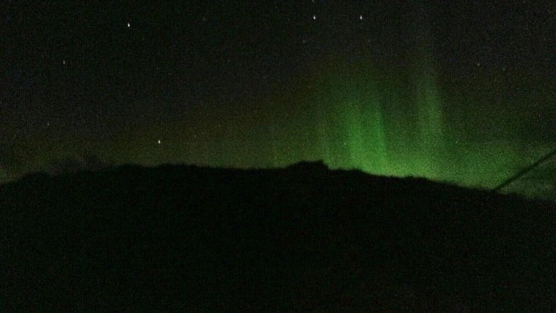 The amazing Northern lights (Aurora Borealis) over Taigh Solas, taken on our mobile phone!!