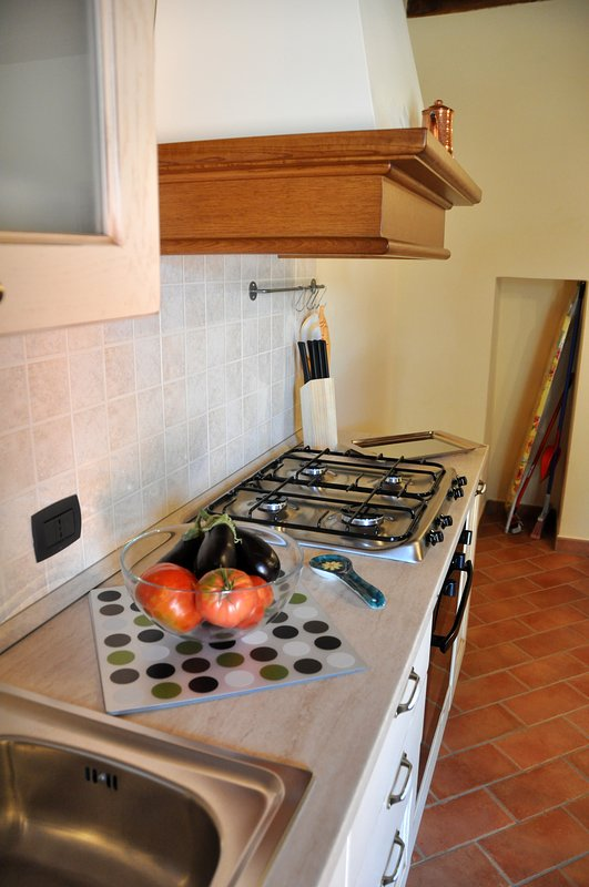Fully fitted and equipped kitchen with dishwasher.
