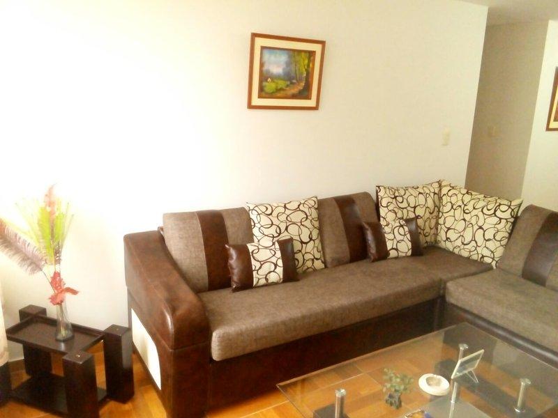 Bel appartement équipé (4ème étage), Zon résidentiel. Salon, cuisine, wifi, télévision par câble.
