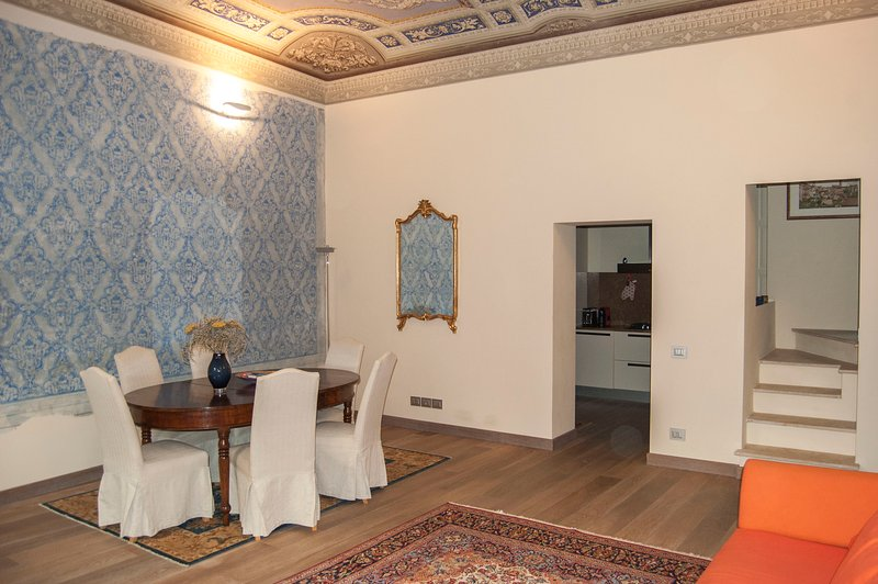 The dining area in the living room