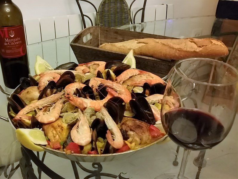 A succulent paella made with local products.