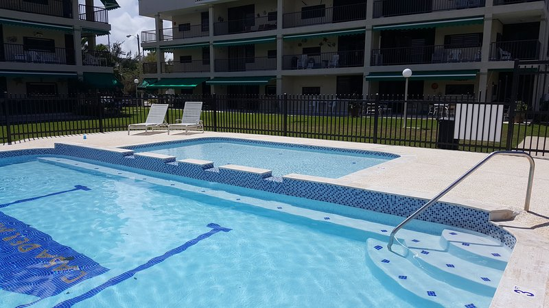 Pool is just 20 steps from the apartment.