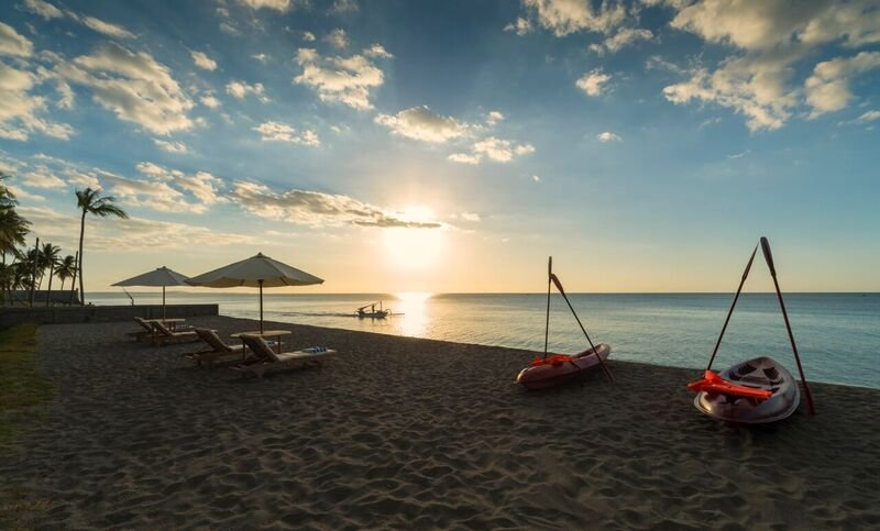 Sunset at Diamond Beach Villa-Gilis Islands are visible from this beach - only 8 miles. distance
