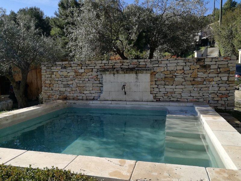 A piscina 5x5 e esplêndida vista sobre a Ste Beaumes