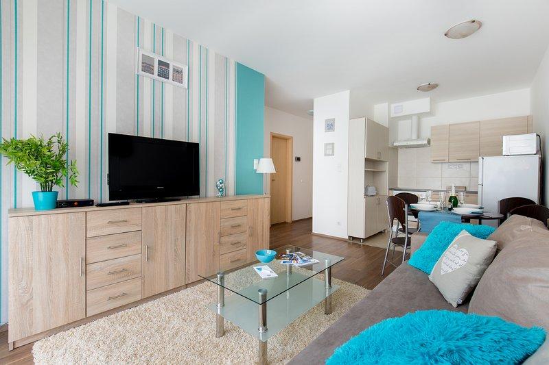 Appartement confortable avec cuisine équipée, une chambre, salle de bains privée