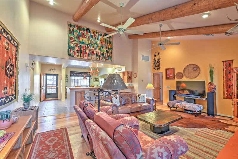 Cozy up on comfortable seating as you warm your toes by the fire or watch television.
