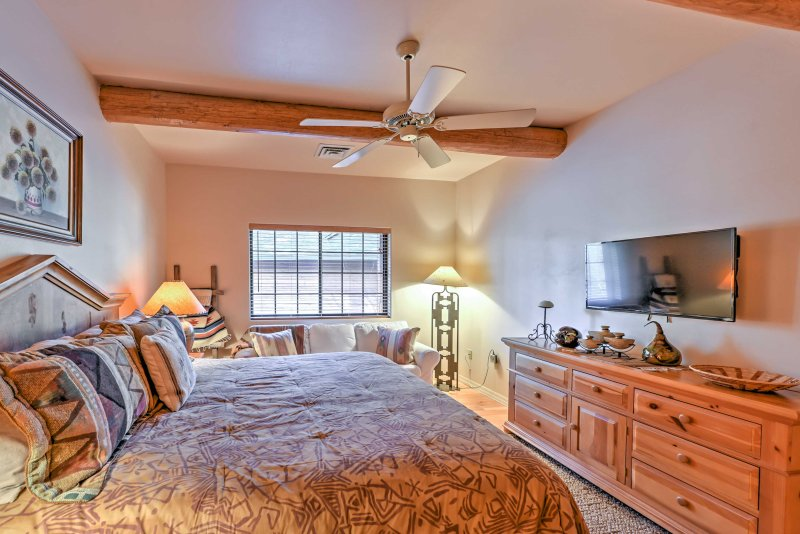 Retreat to the master bedroom and fall sound asleep on a king-sized bed.