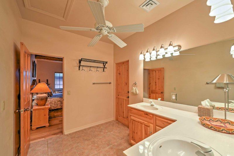 This spacious bathroom offers plenty of counter space for nightly bedtime routines.