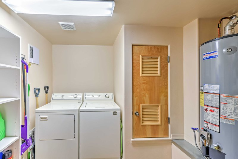 Utilize in-unit laundry machines for clean clothes throughout your trip!