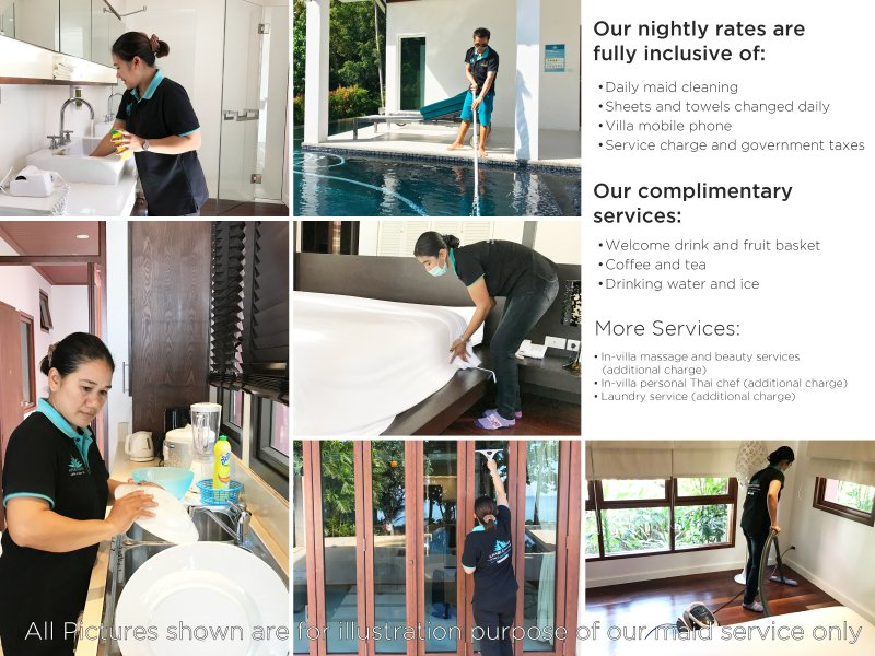 Cleaning at villas