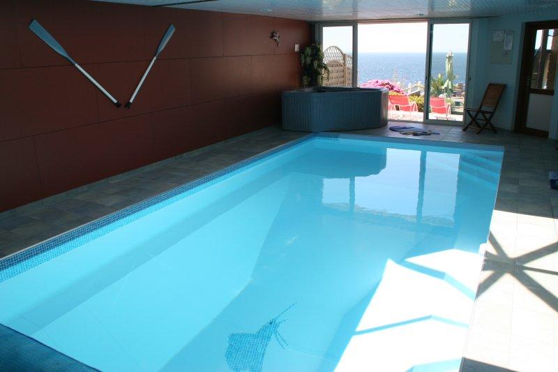 Villa vue mer, piscine chauffée, balnéo, sauna, plage, holiday rental in Moelan sur Mer