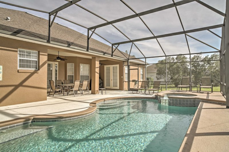 This 3-bed, 3-bath vacation rental home boasts a private pool.