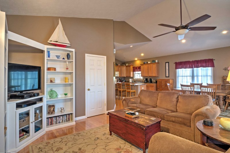 The home is decorated for comfort and convenience.