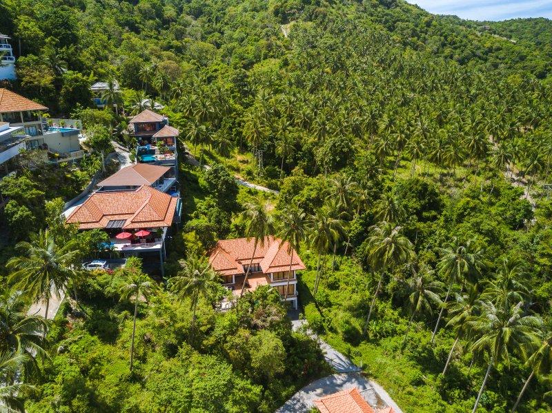 Drone weergave van uw villa met een prachtig uitzicht jungle
