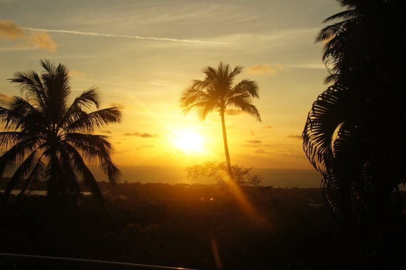 Vroeg in de ochtend zonsopgang uitzicht vanaf het terras
