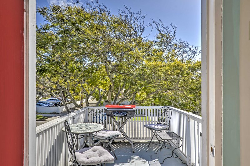Take in the fresh air and beautiful mountain views from this small patio.
