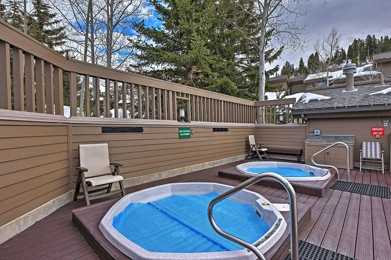 Soothe your muscles in the hot tubs after a day on the slopes.