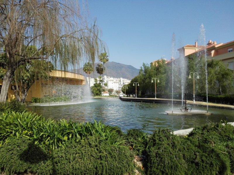 beautiful park next to the pedestrian area urbanization
