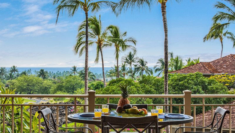 Breakfast on the lanai with an ocean view.