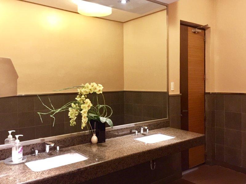 Toilettes équipé d'un séchoir à main