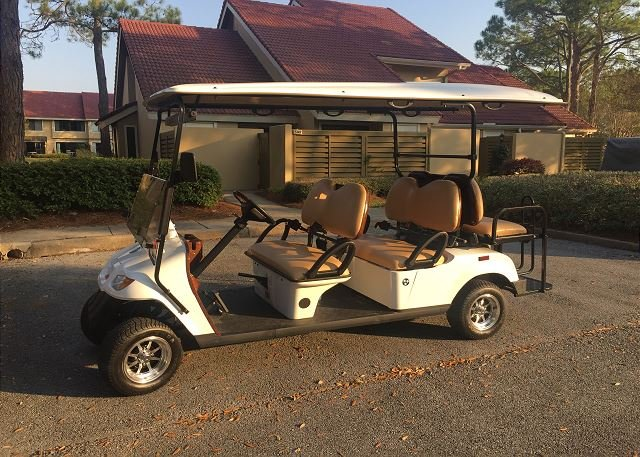 Lets head to the beach in this 6 person golf cart!