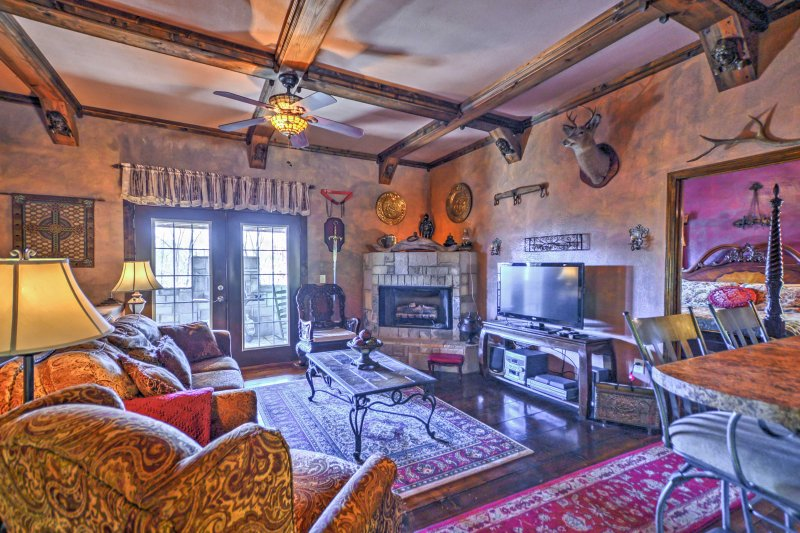 The castle boasts 1,500 square feet of comfortable living space, with luxurious furnishings and castle-esque decor throughout.