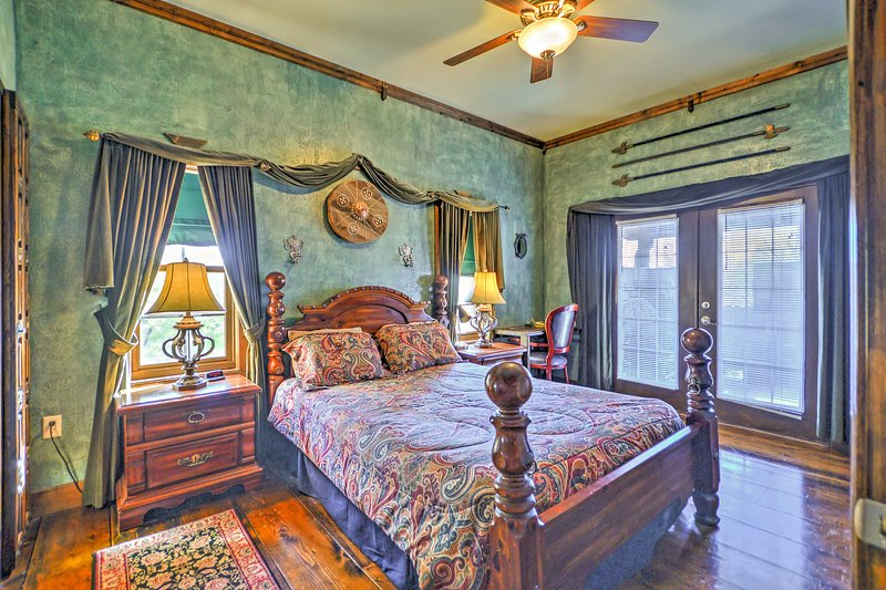 This bedroom offers a plush queen-sized bed.