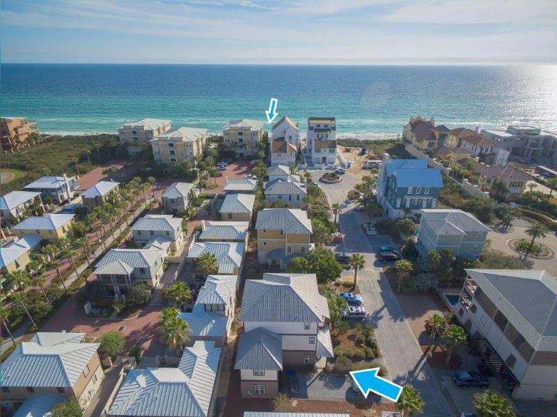 Vue aérienne de l'emplacement de la plage