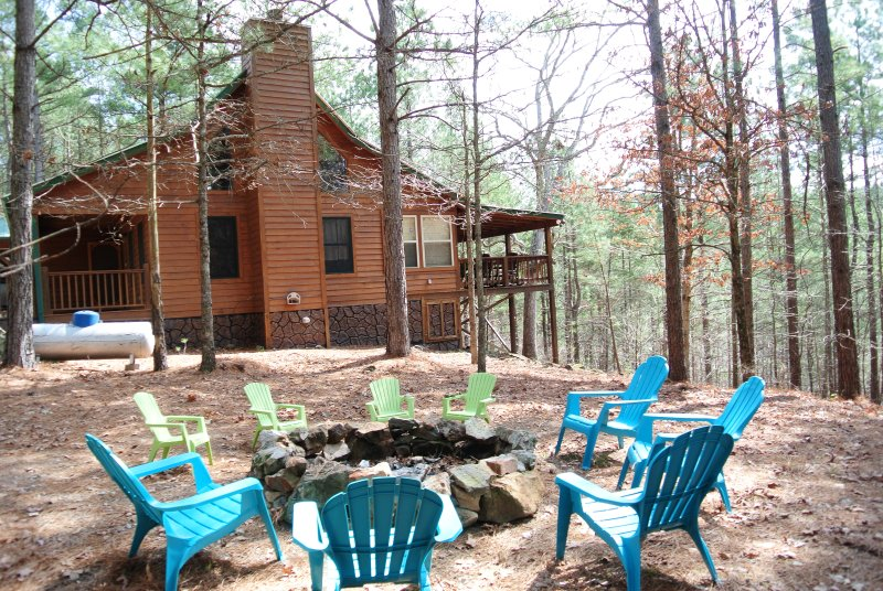 View of the cabin from the fire pit area
