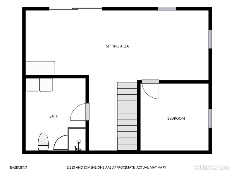 Overview of Basement area. Ratios are larger but this gives a good idea of the layout