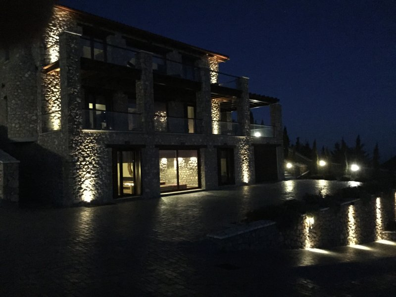 Our beautiful house at night! It is the one at the right side of the photo.