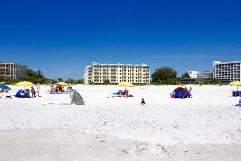 Right on the white sand beach