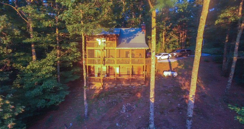 A birdseye view of the back of the cabin
