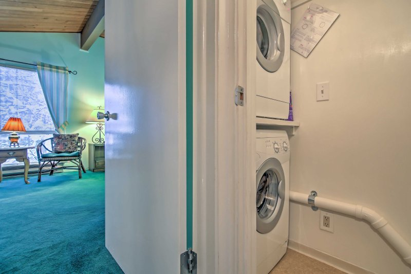 Utilize the in-unit laundry machines.