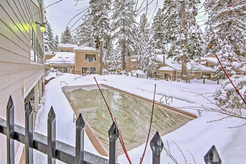 During the warmer months, dive into this outdoor pool when you stay at  this Incline Village vacation rental condo.