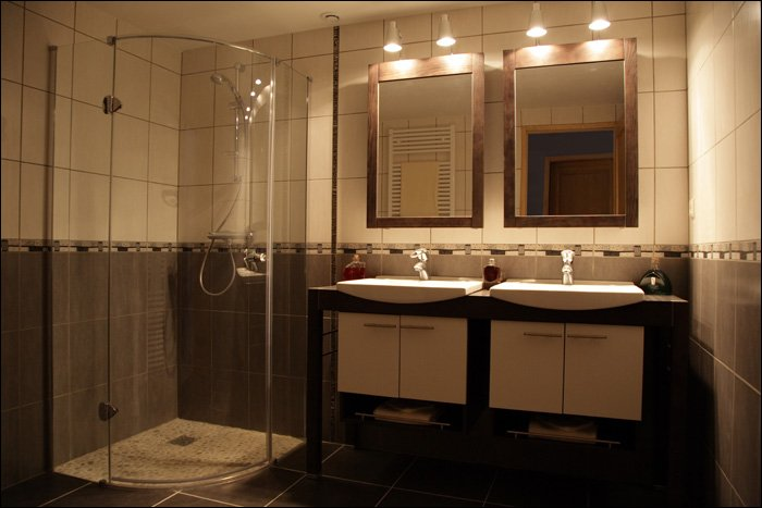 Bathroom-with walk-in shower and double vanity unit