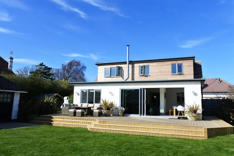 Recently modernised cottage with large south facing garden and sun deck.