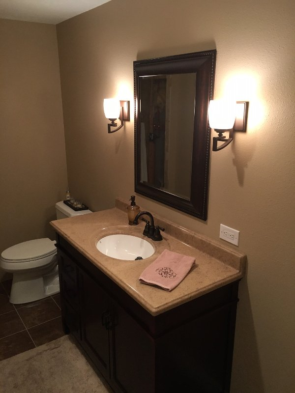 Newly remodeled bathroom with tile shower