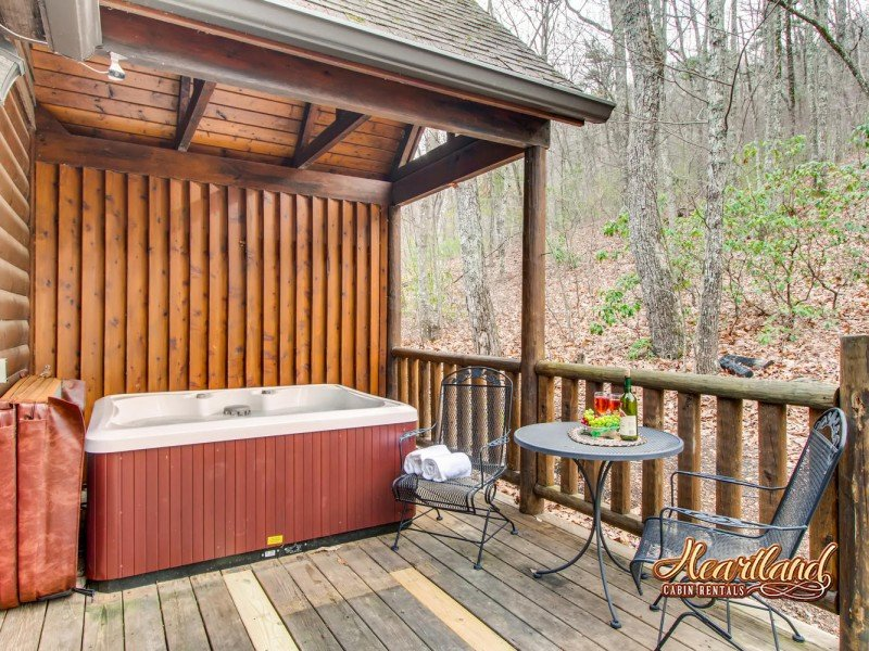 Bear Tootin hot tub and back deck