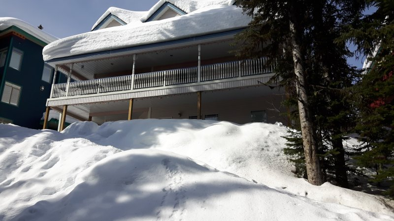 View of the Whole House from the ski way. The 2 Bedroom Suite is on the Ground Level.