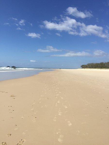 Uncrowded surf beach - Pottsville Beach.