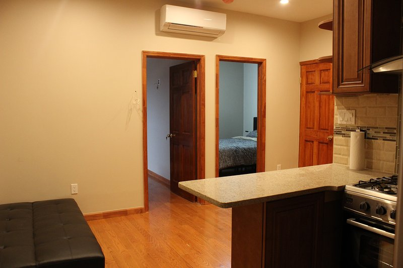 View of Living Room and Bedroom Entrances